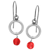 Riddles Group Sterling Silver Siam Glass Bead Dangle Earrings