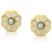 Molly and Emma Gold Overlay Cubic Zirconia Flower Earrings