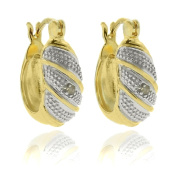 Finesque Gold over Silver Diamond Accent Striped Hoop Earrings
