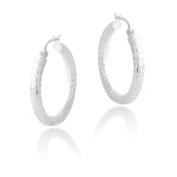 Mondevio Sterling Silver 25 mm Diamond-cut Hoop Earrings