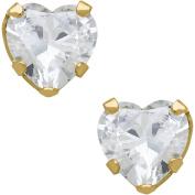 Believe By Brilliance 6mm CZ Heart-Shaped 10kt Yellow Gold Stud Earrings