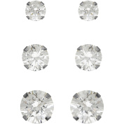 Believe By Brilliance 3mm, 4mm and 5mm CZ Round 10kt White Gold Stud Earrings Set