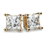Trillion Designs 10k Yellow Gold 3/4ct Princess Cut Stud Earrings With Screw Backs