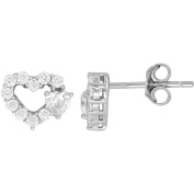 Simply Silver Kids' Sterling Silver CZ with White Accent Heart Stud Earrings