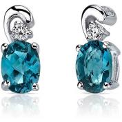 Oravo 1.50 Carat T.G.W. London Blue Topaz Rhodium over Sterling Silver Drop Earrings