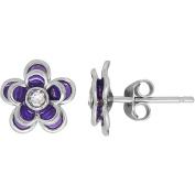 Simply Silver Kids' Sterling Silver Purple Enamel with Crystal Flower Stud Earrings