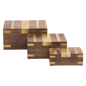 Chic Box Set Of 3 With Brass Inlay