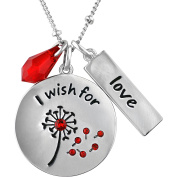 """Truly Inspired Crystal Fine Silver-Tone """"I Wish For Love"""" Pendant, 46cm + 5.1cm Extender"""