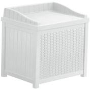Suncast 83.3l White Resin Wicker Small Storage Seat Deck Box SSW1200W