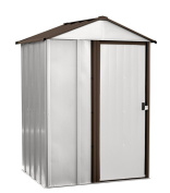 Arrow Shed - Newburgh Shed, 5x 4, Electro Galvanised Steel, Coffee / Eggshell, Low Gable, 170cm Wall Height, Sliding Doors