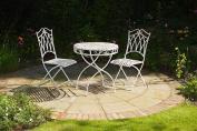 Three Piece Antique White Metal Bistro Set Seville Dining Outdoor Garden Patio T