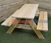 Childrens 90cm Long Hardwood Picnic Table, Garden, Outdoors, Patio, Bench