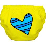 Charlie Banana Extraordinary Training Pants, Blue Petit Coeur on Yellow