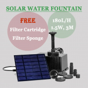 Solar Panel Powered Fountain Garden Pool Pond Water Pump Spray Features 180l/h