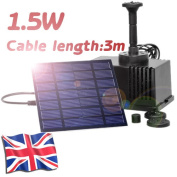 Garden Pond Solar Power Panel Water Feature Pool Pump Fountain Kit 180l/h 1.5w 7