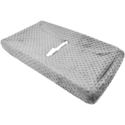 TL Care Heavenly Soft Minky Dot Fitted Contoured Changing Pad Cover, Grey