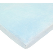 TL Care Heavenly Soft Chenille Fitted Changing Pad Cover for 2.5cm Flat Pad Only, Blue