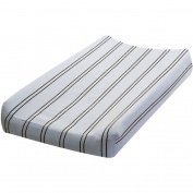 Go Mama Go Designs Blue & Chocolate Stripe Cotton Changing Pad Cover