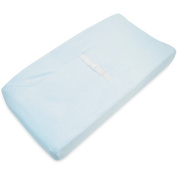 TL Care Heavenly Soft Chenille Fitted Contoured Changing Pad Cover, Blue
