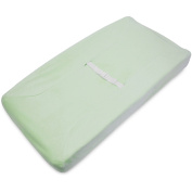 TL Care Heavenly Soft Chenille Fitted Contoured Changing Pad Cover, Celery