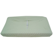 TL Care Heavenly Soft Minky Dot Fitted Contoured Changing Pad Cover, Celery