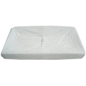 TL Care Heavenly Soft Minky Dot Fitted Contoured Changing Pad Cover, White