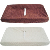 TL Care Heavenly Soft Minky Dot Fitted Contoured Changing Pad Cover, Ecru