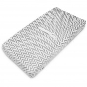 TL Care Heavenly Soft Chenille Fitted Contoured Changing Pad Cover, Grey Zigzag