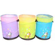 Pop-up Hamper Storage Basket and Container with Anti-Spill Mesh, Mr. Organise Frog for Children, Set of 3