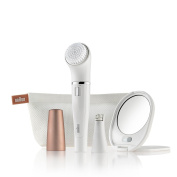 Braun Face 831 Beauty Edition - Facial Cleansing Brush with Micro-Oscillations & Facial Epilator - Including a Lighted Mirror and Beauty Pouch