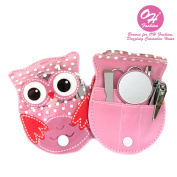 """OH Fashion Manicure Pedicure Set """"OWL"""" PINK,5 pc nail separator cuticle pusher nail brush file nail nail clipper in one owl travel case"""