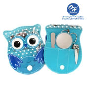 OH Fashion Manicure Pedicure Set OWL BLUE,5 pc nail separator cuticle pusher nail brush file nail nail clipper in one owl travel case