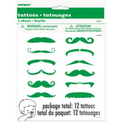 Green Moustache Finger Tattoos, 12 Count