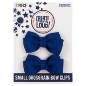 Create Out Loud Hair Bow Barrette Set in Blue Royal Grosgrain
