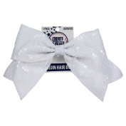 Sequin Bow Pony Tail White