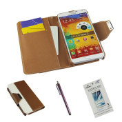 Galaxy Note 3 Luxury Fashion Pu Leather Magnet Wallet Flip Case Cover with Built-in Credit Card/ID Card Slots(Coffee), Sent Screen Protector+Stylus