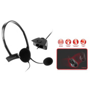 Insten Black Live Chat Gaming Headset Wired Headphone with Mic For Microsoft Xbox 360 + Black/Red Gaming Mouse Pad Mat