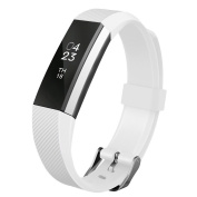 Replacement Wrist Band Soft Silicon Strap Clasp Buckle for Fitbit Alta White