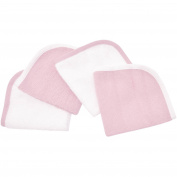 TL Care Cotton Terry 4-Piece Washcloth Set, Pink