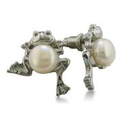 Frog Shaped Freshwater Pearl Earrings