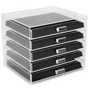 Ikee Design Acrylic 5-Tier Jewellery Organiser with 5- and 16-compartment Flocked Display Inserts