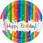 18cm Rainbow Birthday Party Plates, 8ct