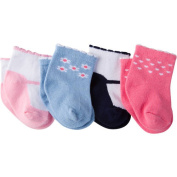Gerber Newborn Baby Girl Ankle Bootie Sock, 4-Pack