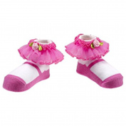 Ganz Newborn Infant Baby Girl Pink Ruffle Socks