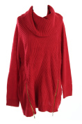 Inc International Concepts Plus Size Red Cable-Knit Zipper Sweater 1X