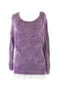 Inc International Concepts Purple Plus Size Lace-Trim Crochet Sweater 0X