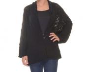 JM Collection Deep Black Cardigan 3/4 Sleeve Size L NWT - Movaz
