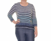 JM Collection Intrd Blue Combo Sweater Long Sleeve Size M NWT - Movaz