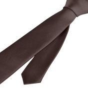 Zodaca Brown Casual Slim Plain Men's Solid Skinny Neck Party Wedding Classic Tie Necktie