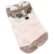 No Boundaries Ladies Famous Reindeer 6-Pack No-Show Sock with 3D Feather Yarn Ears
